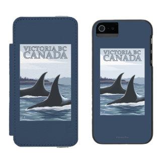 Ballenas #1 - Victoria, A.C. Canadá de la orca Funda Billetera Para iPhone 5 Watson