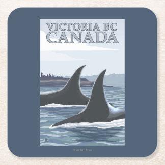 Ballenas #1 - Victoria, A.C. Canadá de la orca Posavasos De Cartón Cuadrado