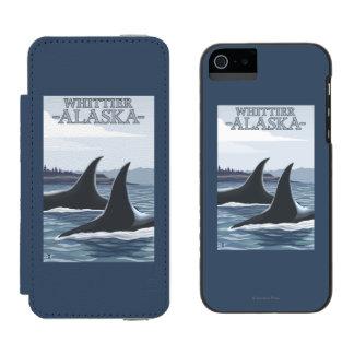 Ballenas #1 - Whittier, Alaska de la orca Funda Billetera Para iPhone 5 Watson