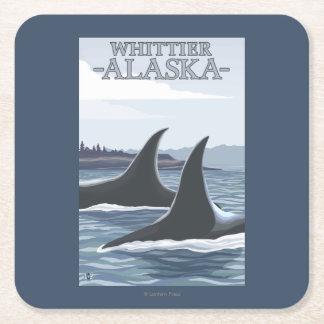 Ballenas #1 - Whittier, Alaska de la orca Posavasos De Cartón Cuadrado