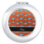 Ballenas anaranjadas conocidas personalizadas del  espejo maquillaje