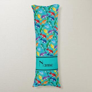 Ballenas azules personalizadas del arco iris almohada de cuerpo entero