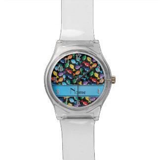 Ballenas azules personalizadas del arco iris negro reloj