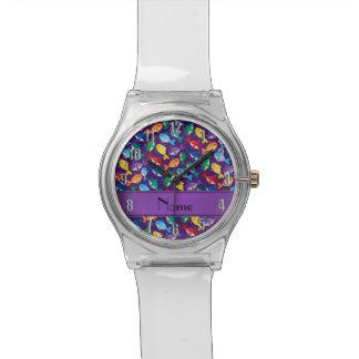 Ballenas azules personalizadas del arco iris reloj de mano
