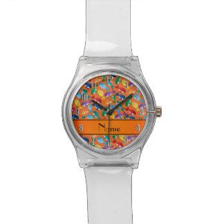 Ballenas azules personalizadas del arco iris relojes de pulsera