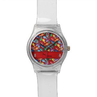 Ballenas azules personalizadas del arco iris rojo reloj