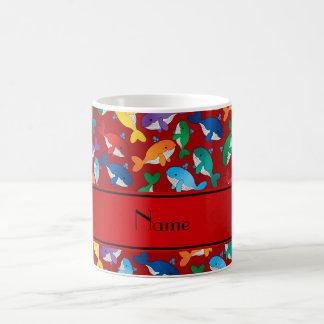 Ballenas azules personalizadas del arco iris rojo taza de café