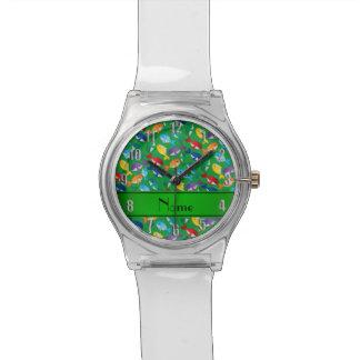 Ballenas azules personalizadas del arco iris verde reloj de mano