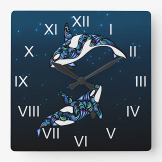 Ballenas coloridas hermosas de la orca reloj cuadrado