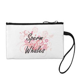 Ballenas de esperma con el fondo de las flores