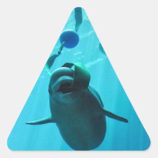 Ballenas de la beluga pegatinas de triangulo personalizadas