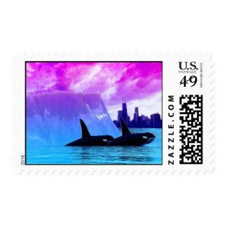 Ballenas de la orca del asesino en la ciudad sello