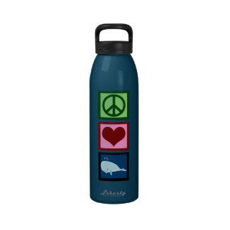 Ballenas del amor de la paz botella de agua