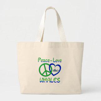 Ballenas del amor de la paz bolsas lienzo