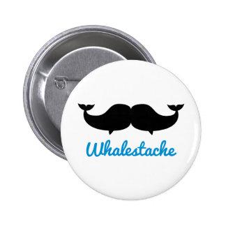 Ballenas del bigote de Whalestache Pin Redondo De 2 Pulgadas