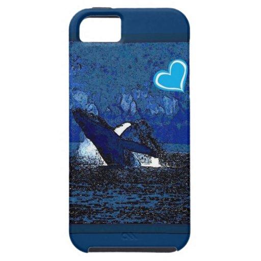 Ballenas del corazón I un tesoro en caja azul del iPhone 5 Funda