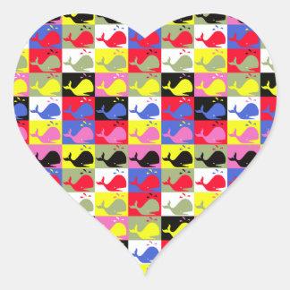 Ballenas del o de Andy Whale-Hole™_Lots en forma Pegatina En Forma De Corazón