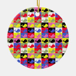 Ballenas del o de los pattern_Lots de la Adorno Navideño Redondo De Cerámica