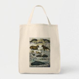 Ballenas del vintage, morsas y sellos, animales bolsa tela para la compra