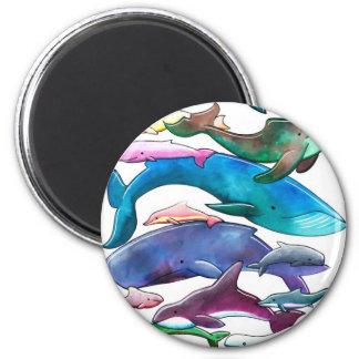 Ballenas, delfínes y masopas imán redondo 5 cm