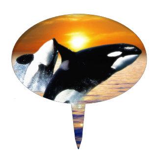Ballenas en la puesta del sol figuras para tartas