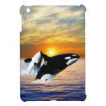 Ballenas en la puesta del sol iPad mini coberturas