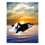 Ballenas en la puesta del sol plantillas de membrete
