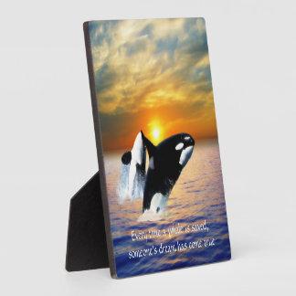 Ballenas en la puesta del sol placas con foto