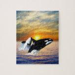 Ballenas en la puesta del sol puzzles