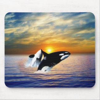 Ballenas en la puesta del sol tapete de raton
