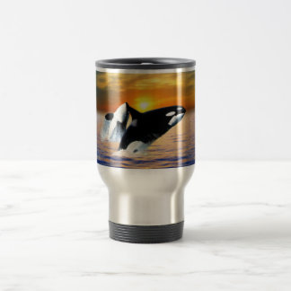 Ballenas en la puesta del sol taza térmica