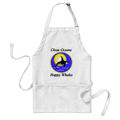 Ballenas felices de los océanos limpios de la ball delantales