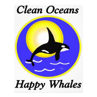 Ballenas felices de los océanos limpios de la ball tarjeta publicitaria