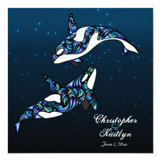 """Ballenas hermosas de la orca que casan la invitación 5.25"""" x 5.25"""""""