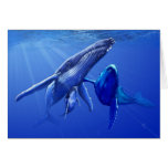 Ballenas jorobadas tarjeta de felicitación