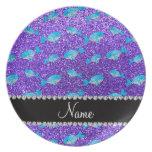 Ballenas púrpuras conocidas personalizadas del bri plato para fiesta
