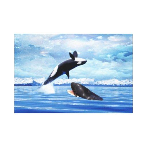 Ballenas soñadoras que gozan del océano impresiones en lona