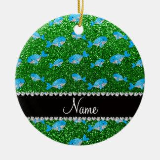 Ballenas verdes conocidas personalizadas del brill ornamentos de reyes
