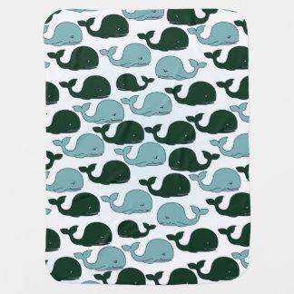 Ballenas verdes y azules - manta del bebé mantas de bebé