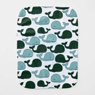 Ballenas verdes y azules - paño del Burp del bebé Paños Para Bebé