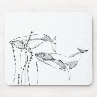 Ballenas y cojín de ratón de las flores alfombrilla de ratones