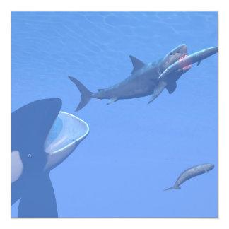 """Ballenas y megalodon subacuáticos - 3D rinden Invitación 5.25"""" X 5.25"""""""