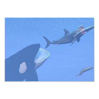 """Ballenas y megalodon subacuáticos - 3D rinden Invitación 5"""" X 7"""""""