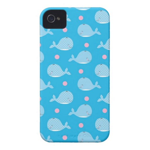 ballenas y modelo de puntos felices lindos iPhone 4 Case-Mate carcasas