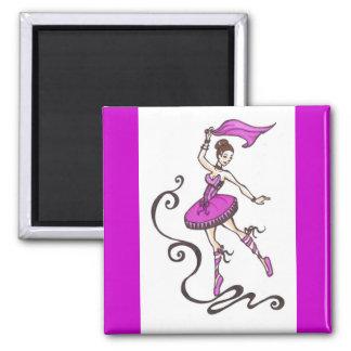 ballerina 2 inch square magnet
