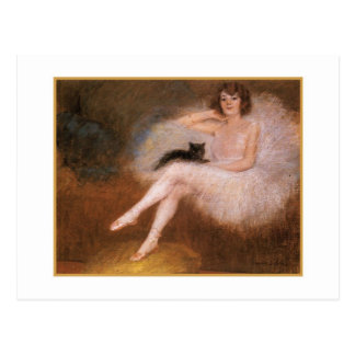 Ballerina and Black Cat by Pierre Carrier-Belleuse Postcard
