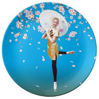 Ballerina and Cherry Blossoms Dinner Plate