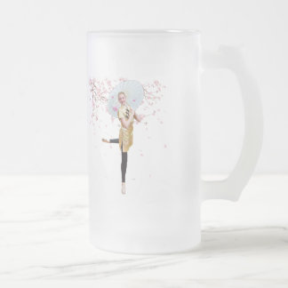 Ballerina and Cherry Blossoms Frosted Glass Beer Mug
