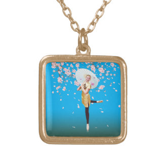 Ballerina and Cherry Blossoms Gold Plated Necklace