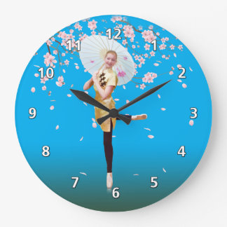 Ballerina and Cherry Blossoms Large Clock